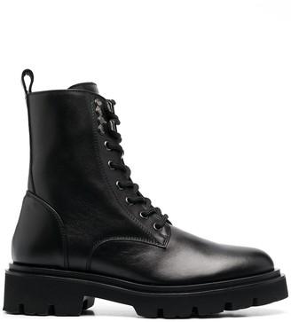 Baldinini Lace-Up Leather Combat Boots