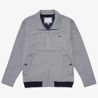 Lacoste Men's Herringbone Pattern Zip Harrington Jacket