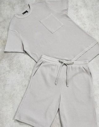 ASOS DESIGN lounge waffle t-shirt and short pyjama set in grey