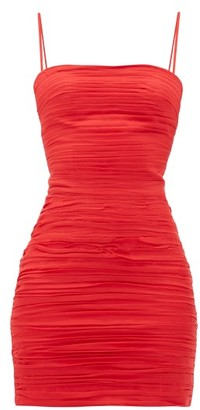 Rasario Ruched Silk-chiffon Dress - Red