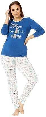 Kickee Pants Plus Size Long Sleeve Fitted Pajama Set (Natural Canine First Responders) Women's Pajama Sets