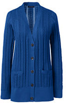 Classic Women's Cotton Cable V-neck Cardigan Sweater-Spring Blue Floral