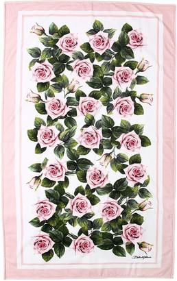 Dolce & Gabbana Rose Printed Cotton Terry Beach Towel