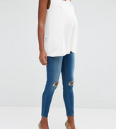 Asos Ridley Skinny Jean In Mahogany Wash With Under The Bump Waistband