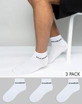 Reebok 3 Pack Ankle Socks In White AB5273
