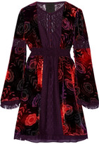 Anna Sui Lace-paneled Printed Velvet Mini Dress - Dark purple
