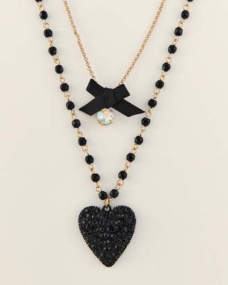Betsey Johnson Gold-Tone & Black Layered Heart Necklace