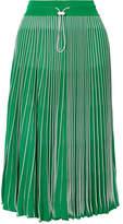 Valentino Plissé Stretch-knit Skirt - Green