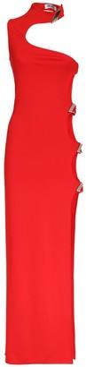 ATTICO Viscose Jersey Long Dress W/ Side Cutout