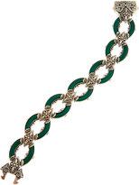 Konstantino Ismene Ornate Green Agate Oval Link Bracelet