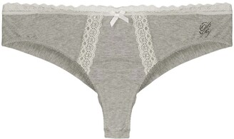 Blumarine Lace-Embroidered Thong
