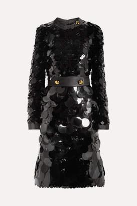 Prada Belted Silk-trimmed Embellished Chiffon Dress - Black