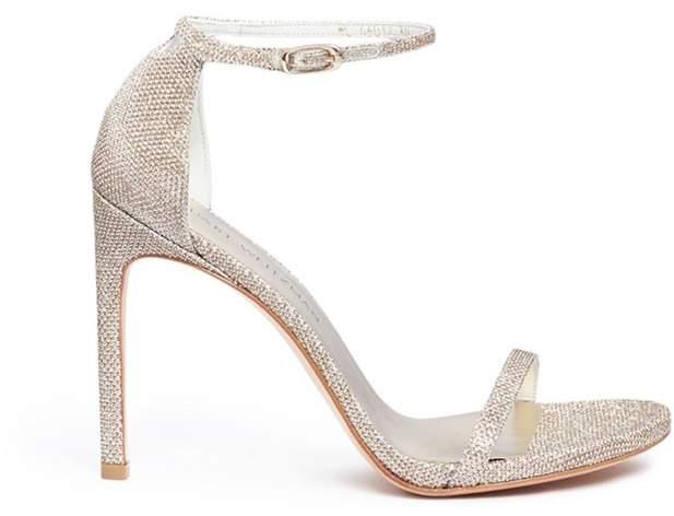 Stuart Weitzman 'Nudist Song' glitter lamé sandals