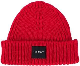 Off-White Logo-Patch Chunky-Knit Beanie