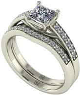 Moissanite Premier Collection 9ct Gold 1.10ct Total Princess Cut Centre Bridal Set
