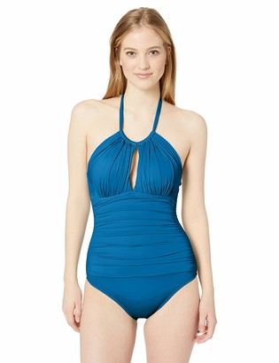 Kenneth Cole Reaction Women's High Neck Keyhole Halter One Piece Swimsuit