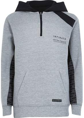 River Island Boys RI Active grey tape hoodie