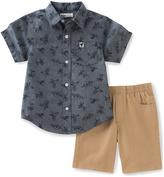 Kids Headquarters Blue Dinosaur Button-Up & Tan Shorts - Infant Toddler & Boys