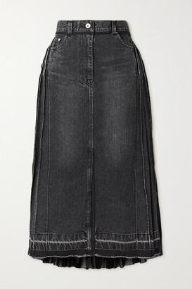 Sacai Pleated Denim And Chiffon Midi Skirt - Black