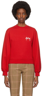 MSGM Red Embroidered Logo Sweatshirt