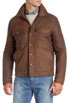 Isaia Nubuck Leather Trucker Jacket