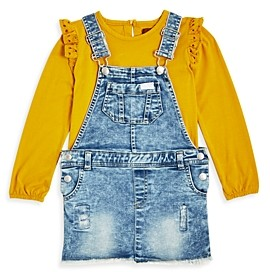 7 For All Mankind 7 For All Man Kind Girls' Ruffle Top & Overall Dress Set - Little Kid