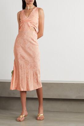 The Line By K - Moon Twist-front Cutout Floral-jacquard Midi Dress - Orange