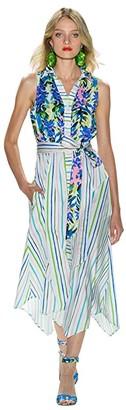 Badgley Mischka Mixed Print Runway Dress (White Multi) Women's Clothing