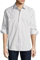Robert Graham R by Scooter-Print Long-Sleeve Sport Shirt, White