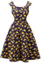 Dasbayla Women's Ruffle Shoulder Round Neck Pleated Skater Dresses M