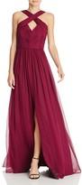 Aidan Mattox Aidan Maddox Silk Chiffon Crisscross Gown