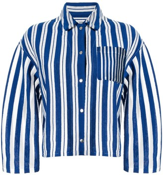 Coohem Striped Knit Shirt Jacket