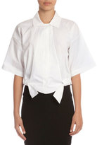 Victoria Beckham Wide Chop Short-Sleeve Cropped Blouse, White