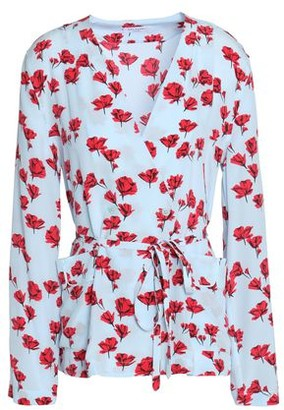 Equipment Mercer Wrap-effect Floral-print Washed-silk Blouse