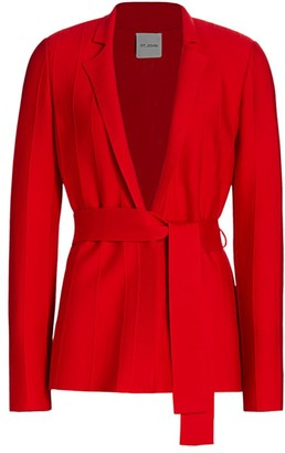 St. John Belted Ottoman Milano-Knit Wool Jacket