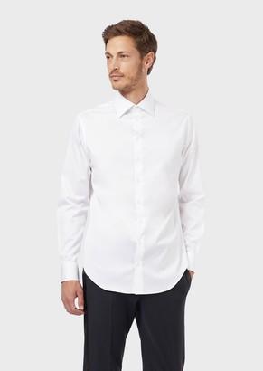Giorgio Armani French Collar Cotton Twill Shirt