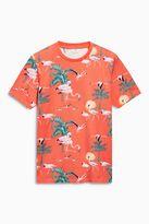 Orange Flamingo Print T-shirt