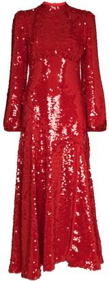 De La Vali Clara sequin embroidered dress