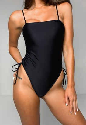 Missguided Petite Black Square Neck Ruched Side Swimsuit
