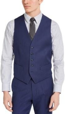 Perry Ellis Men's Portfolio Slim-Fit Stretch Blue Pindot Suit Vest