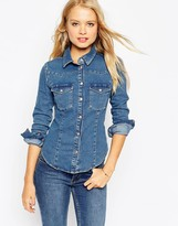 Asos Denim Fitted Western Shirt In Mid Wash Blue