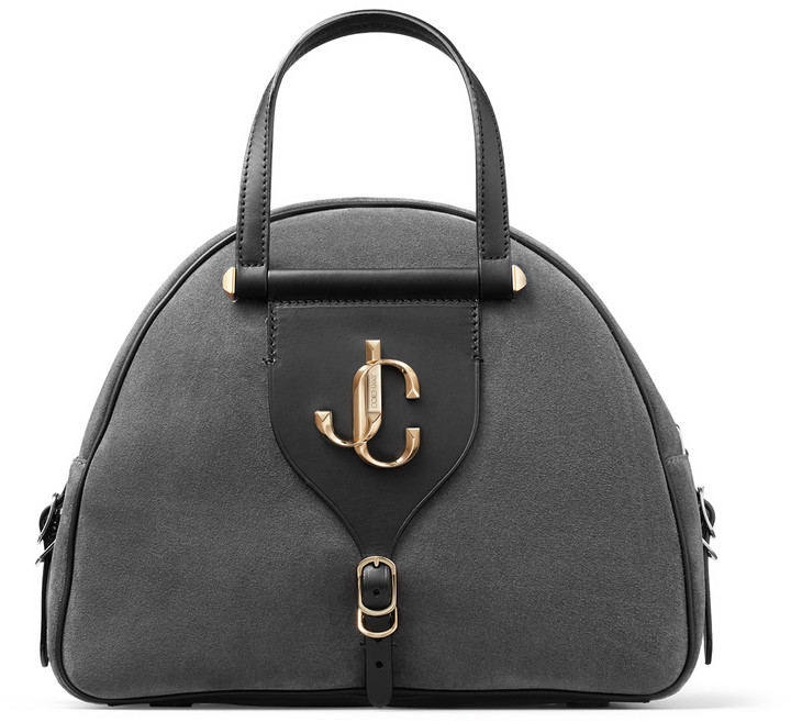 Jimmy Choo VARENNE BOWLING/M Dusk Suede and Black Vacchetta Leather Bowling Bag with JC Logo