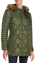 Andrew Marc Kami Faux Fur Trimmed Mid Length Puffer Coat