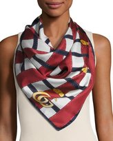 Gucci Belt Trompe l'Oeil Silk Scarf, Blue/White/Red