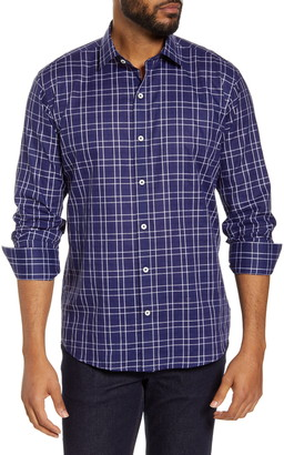 Bugatchi Shaped Fit Plaid Button-Up Shirt