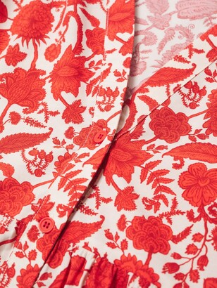 MANGO Floral Print Cotton Mini Dress, Red Cherry