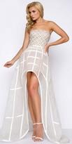 Mac Duggal High Low Beaded Cage Skirt Evening Dress