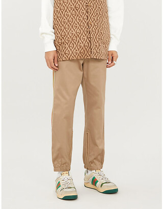 Gucci Side-stripe tapered cotton-twill trousers