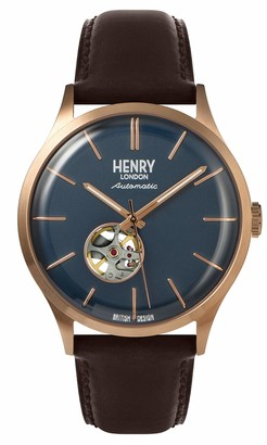 Henry London Mens Skeleton Automatic Watch with Leather Strap HL42-AS-0278