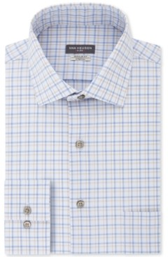 Van Heusen Men's Classic/Regular-Fit Non-Iron Performance Stretch Flex Collar Blue Stone Check Dress Shirt